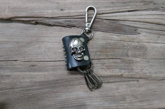 Skull Leather Keychain key fob key ring Leather key chain Mens  9adcc2de2407