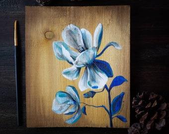 Floral Painting, Acrylic on wood, Cobalt Magnolia, Zero Waste Upcycled Reclaimed Wood Art