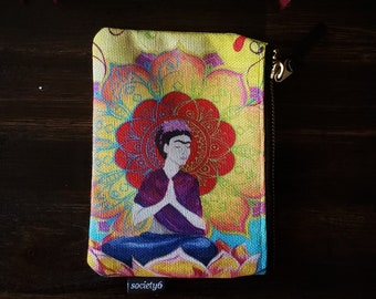 """Zip Pouch, Frida Meditating, Small makeup pencil case 6x5"""", with Mandala and Chakra Colors"""