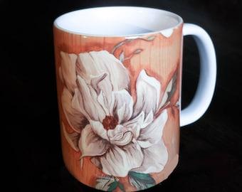 Mug, 16oz, Magnolia on Wood, Botanical Floral Design