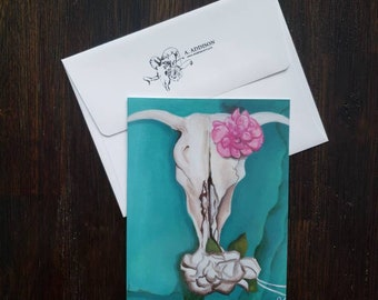 Bull Skull Turquoise, 3-Pack Blank Note Cards with A6 Envelopes
