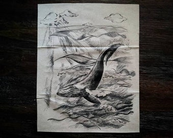 Humpback Whale, Zero Waste Pen and Ink Drawing on Paper Bag