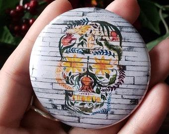 "Pinback button, Flower Foliage Skull , 2.25"" Pin Badge"