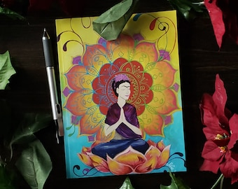 Journal, Frida Meditating in Lotus Blossom, 6x8 Lined Pages Notebook