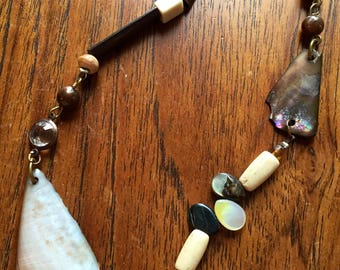 Natural Shells, Wood, and Crystal Beaded Necklace
