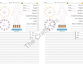 PRINTED Cold Flu Health Journal/Insert For Your Traveler's Notebook