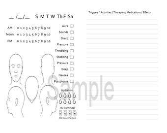 Migraine Journal for TN, Traveler's Notebook, Midori- Field Note  digital download Printable