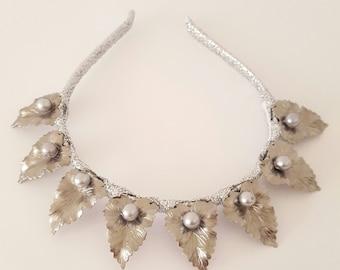 Silver Leaf Crown,Fascinator,Tiara, Headpiece
