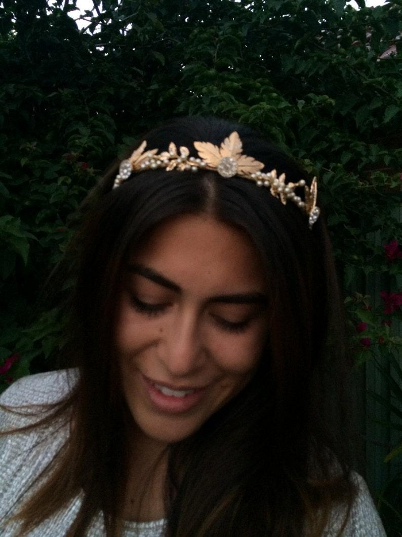 Tiara LADY of THE LAKE  Gold  Crown Woodland
