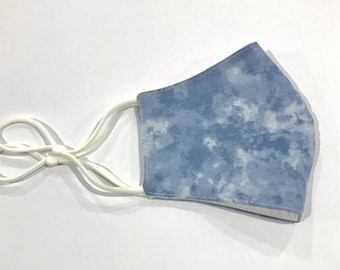 Face Mask 3 Layers * Blue Clouds* washable Australian made with filter pocket, Fabric Face Mask, Cloth Face Mask,  Reusable Face Mask