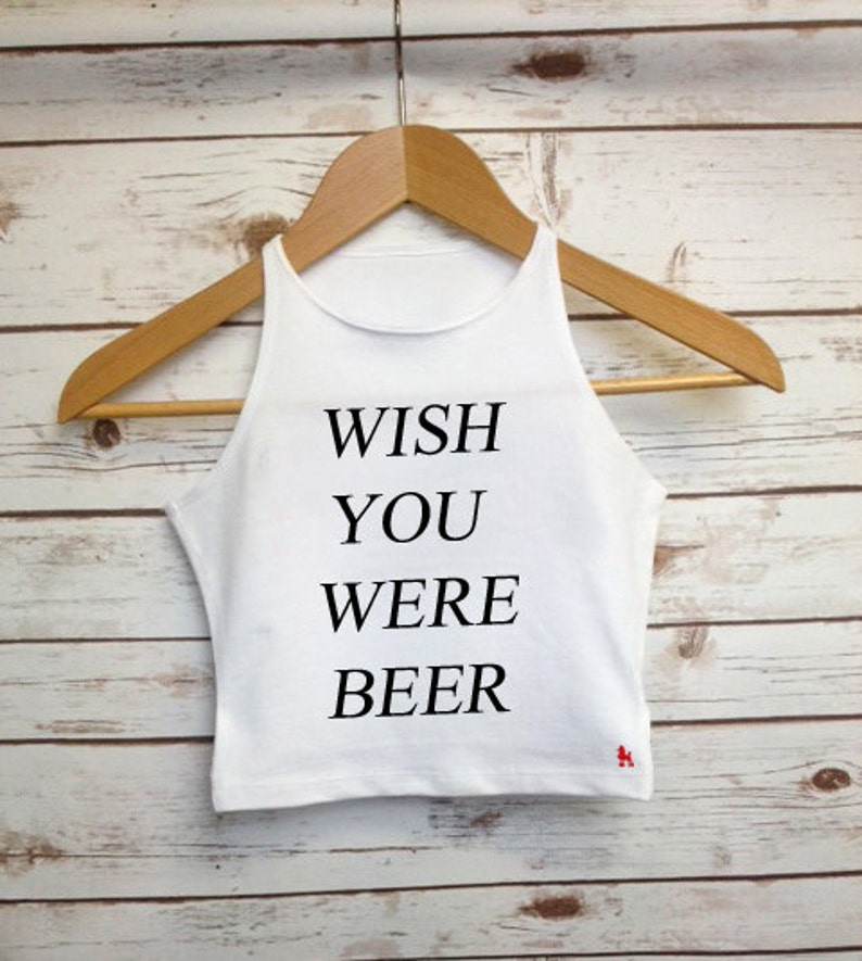4b433a5088ceb Wish You Were Beer Crop Top Festival Cropped Vest Ladies