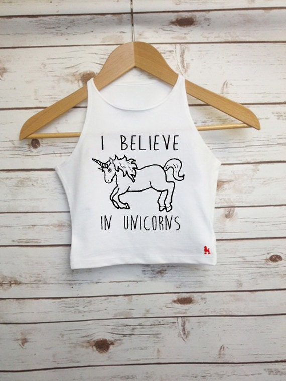 608dbed15b1 I Believe in Unicorns Crop Top Unicorn Quote Girls Vest | Etsy