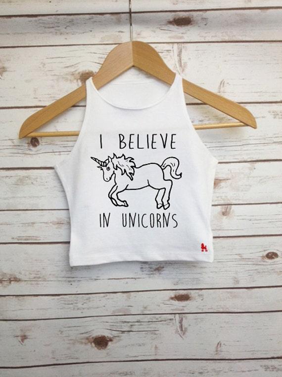 608dbed15b1 I Believe in Unicorns Crop Top Unicorn Quote Girls Vest   Etsy