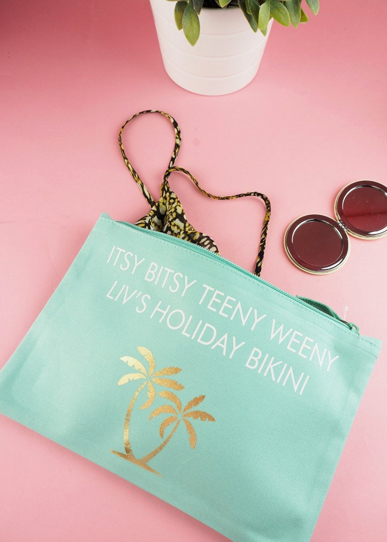 91cb9f7a3b Personalised Bikini Bag Itsy Bitsy Teeny Weeny Personalised | Etsy