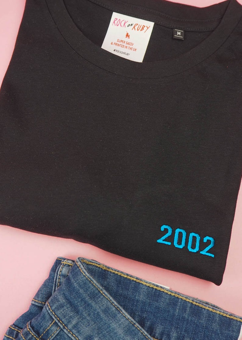 c4f18f912 Personalised Birthday T-Shirt with Embroidered Year design for   Etsy