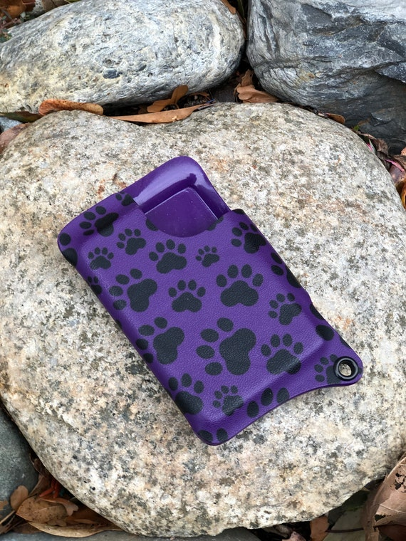 QUICK SHIP - Kydex Wallet With Money Clip - Puppy Paw Print on Purple
