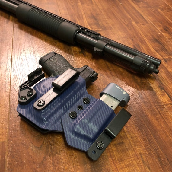 Shield 9/40 - Police Blue - IWB Kydex Holster With Magazine Carrier and Modwing