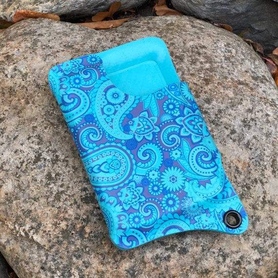 QUICK SHIP - Kydex Wallet With Money Clip - Paisley Print on Carbon