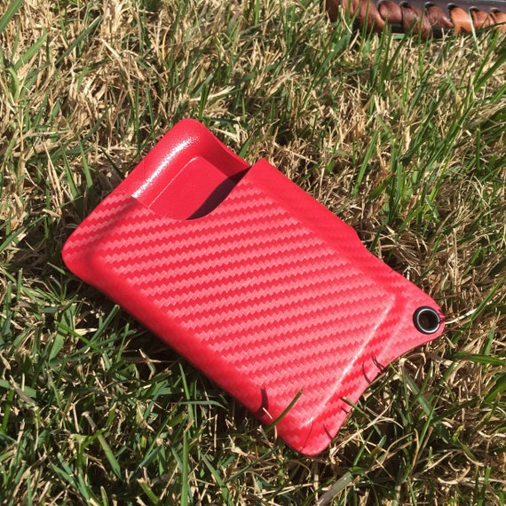 Kydex Wallet With Money Clip - Red Carbon Fiber