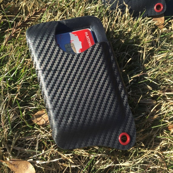 Kydex Wallet With Money Clip - Armor Black Carbon Fiber W/ Blood Red Eyelet