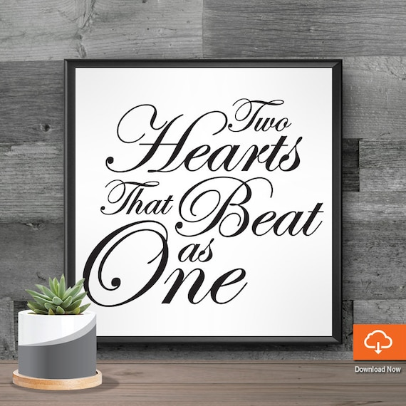 Svg Sayings For Signs Two Hearts That Beat As One Wedding Etsy