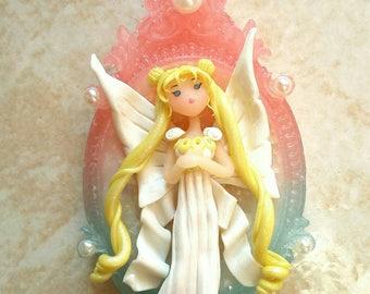 Fantasy Necklace-Sailor Moon Fimo-Sailor Moon Necklace-sailor fan art-Princess Serenity-Fimo Necklace-Serenity Fan Art