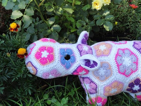 Stuffed Nilpferd Häkeln Tier Spielzeug Afrikanische Blume Etsy