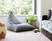 BONITA BEAN BAG, Charcoal, Chair bean bag, Washed textiles