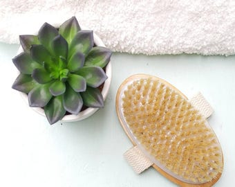Natural Bristle Body Brush, Improve Skin, Detox, Lymphatic System Health, Remove Toxins, Wood Brush, Dry Brushing, Cellulite Treatment