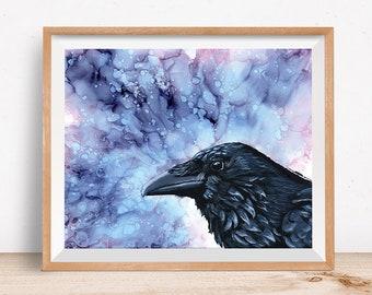 Crow Art Print - Acrylic Crow Art - Alcohol Ink Painting