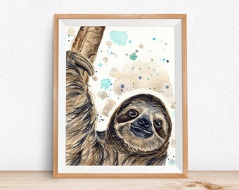 Sloth Art Print - Sloth Decor - Gift for Sloth Lover