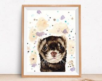 Peekaboo Ferret Art Print - Watercolor Paper Print of Domestic Ferret