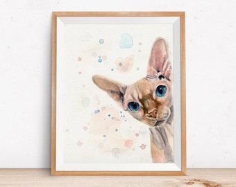 Sphynx Cat Artwork - Watercolor Paper Art Print of Sphynx - Gift for Sphynx Lover