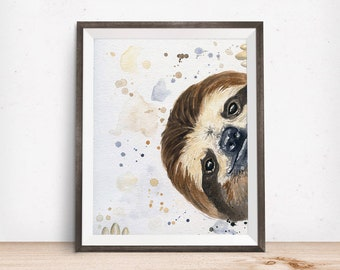 Sloth Art - Sloth Painting - Sloth Gifts - Sloth Nursery - Best Friend Gift - home decor ideas - Sloth Gift