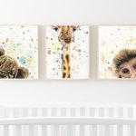 Safari Nursery Prints for Animal Nursery - Giraffe Nursery - Animal Nursery - Jungle Nursery - Monkey Nursery - Baby Shower Gift Idea
