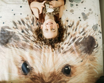 Hedgehog Throw Blanket - Fleece Hedgehog Blanket - Hedgehog Nursery - Woodland Nursery Decor - Nursery Blanket
