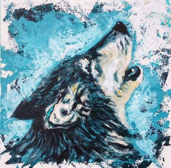 Wolf Art Wolf Print Wolf Howling Howling Wolf Rustic Home Decor Wildlife Art Square Art Print Blue Wolf Decor Woodland Art