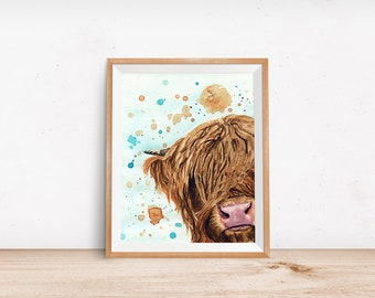 Highland Cow Art Print - Watercolor Highland Cow Painting