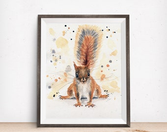 Squirrel Art Print - Funny Squirrel Art - Woodland Animal Art