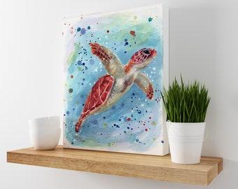 Sea Turtle Watercolor Print on Canvas