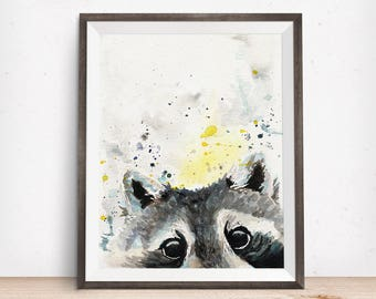 Raccoon Print - Raccoon Art - Woodland Nursery Art - Gift For Mom - Gift For Wife - Watercolor Decor - Watercolor Wildlife - Pregnancy Gift