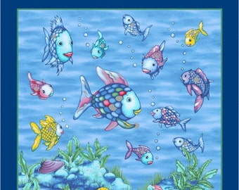 "Marcus Brothers The Rainbow Fish 9776 0750-24/"" Panel  Cotton Fabric"
