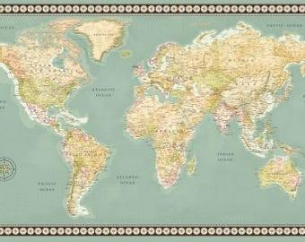 World map fabric etsy studio meridian world map fabric panel 23 x 44 inch world map panel continents on green quilt panel world map fabric panel gumiabroncs Choice Image