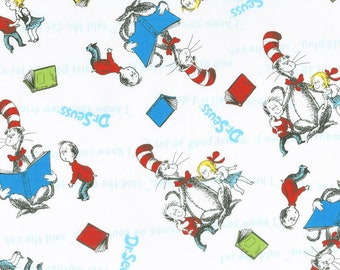 15fe184f Dr Seuss Fabric by the yard / The Cat in the Hat Fabric / Robert Kaufman  72586-1 Cat in the Hat Books / Dr Seuss yardage & Fat Quarters