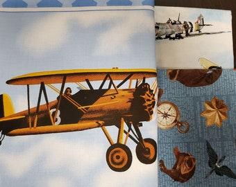 Air Show Boeing Antique Planes Vintage Military Aircraft Tan Fabric Fat Quarter