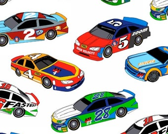 Race Cars On White Multi Fabric Fast Track Car By Henry Glass 1173 Fat Quarters And The Yard