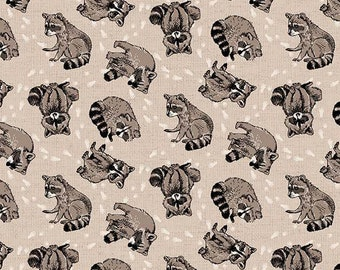 618837c70c6 Forest Animal Fabric   Woodland Pitter Patter Northcott 22570-12 Fabric by  the yard   Raccoon Animal Fabric  Raccoon Yardage   Fat Quarters