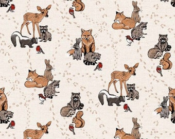 d4445e1ac6c Forest Animal Fabric   Woodland Pitter Patter Northcott 22569-11 Fabric by  the yard   Squirrel Animal Fabric   Deer Yardage   Fat Quarters