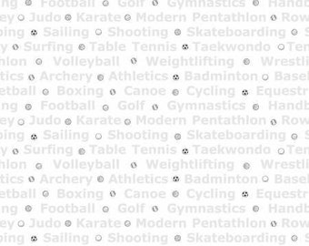 White Fabric  Good Sports Fabric Sports Fabric 26x44 Remnant Sports Words-Multi