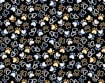 Think Pawsitive  Words Faithful Friends Dog Fabric by the yard from Kanvas Studio Dog Fabric /& Fat Quarters Available